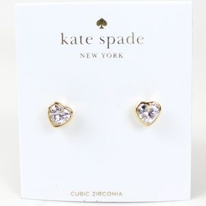 NWT Kate Spade New York cz Heart Stud Earrings